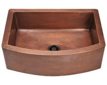"Polaris P419 Single Bowl Apron Kitchen Sink 32"" W x 24 1/2"" L - Hammered Copper"