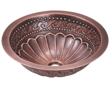 "Polaris P429 Single Bowl Bathroom Sink - Undermount, Topmount, or Vessel 16 3/4"" Diameter - Hammered Copper"