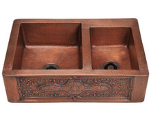 "Polaris P119 Double Offset Bowl Apron Kitchen Sink 33"" W x 24"" L - Hammered Copper"