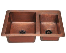 "Polaris P109 Double Offset Bowl Undermount Kitchen Sink 33"" W x 22"" L - Hammered Copper"