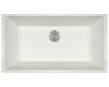 "Polaris P848W Large Single Bowl AstraGranite Undermount Kitchen Sink 32 5/8"" Wx 18 3/8"" L - White"