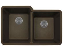 "Polaris P108M Double Offset Bowl AstraGranite Undermount Sink 32 1/2"" W x ( L ) 20 3/8"" L ( R ) 18 3/8"" L - Mocha"