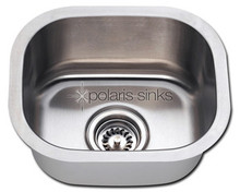 "Polaris P2151 Square Stainless Steel Undermount Bar Kitchen Sink 15"" W x 12 3/4"" L - Brushed Satin"