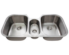 "Polaris P1254 Triple Bowl Stainless Undermount Kitchen Sink 42 1/4"" W x 20 1/2"" L - 18 Gauge - Brushed Satin"