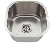 "Polaris P6171-18 Square Stainless Steel Undermount Bar Kitchen Sink 16"" W x 17"" L - 18 Gauge - Brushed Satin"