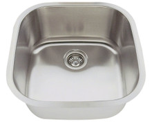 "Polaris P0202-18 Square Stainless Steel Undermount Bar Kitchen Sink 20 1/8"" W x 20 1/8"" L - 18 Gauge - Brushed Satin"