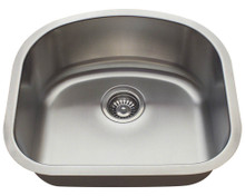 "Polaris P812-18 Single D-Bowl Stainless Steel Undermount Kitchen Sink 20"" W x 17 3/4"" L - 18 Gauge - Brushed Satin"