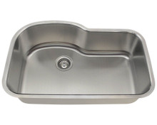 Polaris P643-18 Single Bowl Stainless Steel Undermount Kitchen Sink 31 «'' W X 20 «'' L - 18 Gauge - Brushed Satin