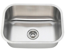 "Polaris P8132-18 Single Bowl Stainless Steel Undermount Kitchen Sink 23"" x 17 3/4"" L - 18 Gauge - Brushed Satin"