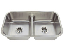 "Polaris P215 Low Divide Double Bowl Stainless Steel Undermount Kitchen Sink 32 1/2"" W x 18 1/8"" L - 18 Gauge - Brushed Satin"