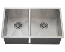 "Polaris POR2233 Large Right Offsett 90 Degree Stainless Steel Undermount Kitchen Sink 32"" W x 19"" L - Brushed Satin"