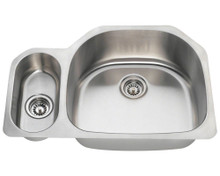 "Polaris PR123 Large Right Bowl Offset Double Stainless Steel Undermount Kitchen Sink 32"" W x 21 1/4"" L - 18 Gauge - Brushed Satin"