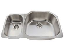 "Polaris PR905 Large Right Bowl Offset Double Stainless Steel Undermount Kitchen Sink 35"" W x 21 1/8"" L - 18 Gauge - Brushed Satin"
