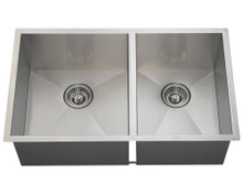 "Polaris POL2233 Large Left Offsett 90 Degree Stainless Steel Undermount Kitchen Sink 32"" W x 19"" L - Brushed Satin"