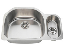 "Polaris PL123 Large Left Bowl Offset Double Stainless Steel Undermount Kitchen Sink 32"" W x 21 1/4"" L 18 Gauge - Brushed Satin"