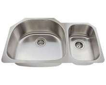 "Polaris PL905 Large Left Bowl Offset Double Stainless Steel Undermount Kitchen Sink 35"" W x 21 1/8"" L 18 Gauge - Brushed Satin"