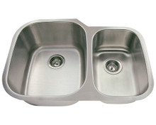 "Polaris PL605 Large Left Bowl Offset Double Stainless Steel Undermount Kitchen Sink 29 3/8"" W x 20 3/4"" L 18 Gauge - Brushed Satin"