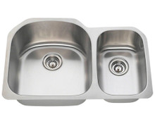 "Polaris PL1213 -18 Large Left Bowl Offset Double Stainless Steel Undermount Kitchen Sink 31 1/2"" W x 20 3/4"" L 18 Gauge - Brushed Satin"