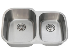 "Polaris PL305-18 Large Left Bowl Offset Double Stainless Steel Undermount Kitchen Sink 32"" W x 20 3/4"" L 18 Gauge - Brushed Satin"