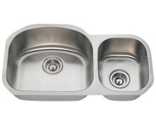 "Polaris PL105 Large Left Bowl Offset Double Stainless Steel Undermount Kitchen Sink 32"" W x 17 3/4"" L 18 Gauge - Brushed Satin"