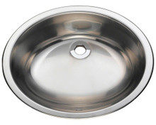"Polaris P7191 Oval Stainless Steel Bathroom Sink - Undermount or Topmount 19 1/4"" W x 16 1/4"" L - Brushed Finish"
