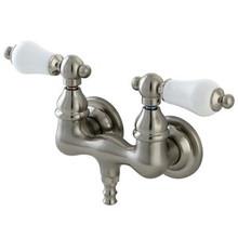 "Kingston Brass 3-3/8"" Wall Mount Clawfoot Tub Filler Faucet - Satin Nickel CC35T8"