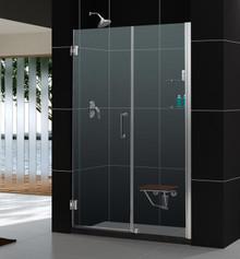 """DreamLine UNIDOOR Frameless 56""""-57"""" Adjustable Shower Door with Glass Shelves - Chrome or Brushed Nickel Trim - SHDR-20567210S"""