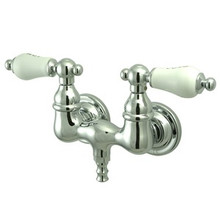 """Kingston Brass 3-3/8"""" Wall Mount Clawfoot Tub Filler Faucet - Polished Chrome CC34T1"""