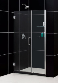 "DreamLine UNIDOOR Frameless 49""-50"" Adjustable Shower Door with Glass Shelves - Chrome or Brushed Nickel Trim - SHDR-20497210S"