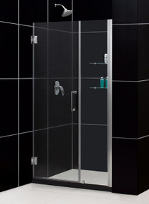 "DreamLine UNIDOOR Frameless 43""-44"" Adjustable Shower Door with Glass Shelves - Chrome or Brushed Nickel Trim - SHDR-20437210S"