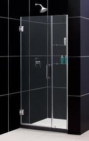 """DreamLine UNIDOOR Frameless 41""""-42"""" Adjustable Shower Door with Glass Shelves - Chrome or Brushed Nickel Trim - SHDR-20417210S"""