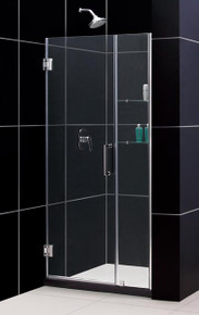 "DreamLine UNIDOOR Frameless 38""-39"" Adjustable Shower Door with Glass Shelves - Chrome or Brushed Nickel Trim - SHDR-20387210S"