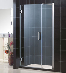 "DreamLine UNIDOOR Frameless 43""-44"" Adjustable Shower Door - Chrome or Brushed Nickel Trim - SHDR-20437210"