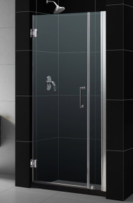"DreamLine UNIDOOR Frameless 36""-37"" Adjustable Shower Door - Chrome or Brushed Nickel Trim - SHDR-20367210"