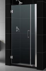 """DreamLine UNIDOOR Frameless 36""""-37"""" Adjustable Shower Door - Chrome or Brushed Nickel Trim - SHDR-20367210"""