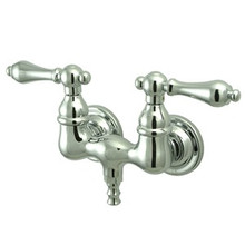 """Kingston Brass 3-3/8"""" Wall Mount Clawfoot Tub Filler Faucet - Polished Chrome CC32T1"""