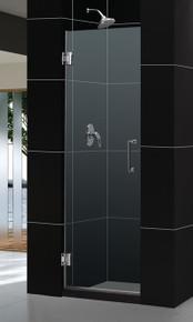 "DreamLine UNIDOOR 26"" x 72"" Frameless Shower Door - Chrome or Brushed Nickel Trim - SHDR-20267210F"