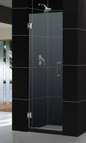 "DreamLine UNIDOOR 24"" x 72"" Frameless Shower Door - Chrome or Brushed Nickel Trim - SHDR-20247210F"