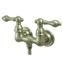 "Kingston Brass 3-3/8"" Wall Mount Clawfoot Tub Filler Faucet - Satin Nickel CC31T8"