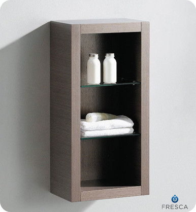 "Fresca FST8130GO 15.75""W x 30""H  Bathroom Linen Side Cabinet w/ 2 Glass Shelves - Gray Oak"