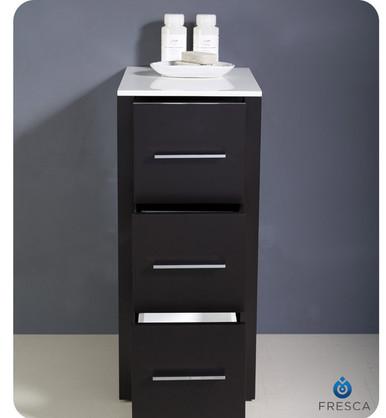 "Fresca Torino FST6212ES 12"" Espresso Bathroom Linen Side Cabinet 12"" H X 17.75"" W X 28.13"" L - Espresso"