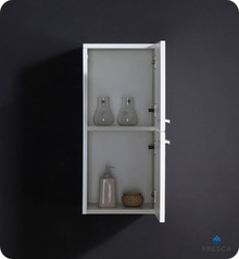 "Fresca FST8091WH 12.5""W x 27.5""H Bathroom Linen Side Cabinet w/ 2 Storage Areas - White"