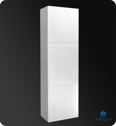 "Fresca FST8090WH Bathroom 17.75""W x 59""H Linen Side Cabinet w/ 3 Large Storage Areas - White"
