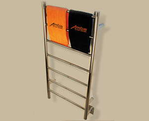 "Amba Jeeves FSB-20 Model F 20 1/2"" W x 41"" H x 4 1/2"" D Straight Electric Heated Towel Warmer - Brushed Stainlesss"