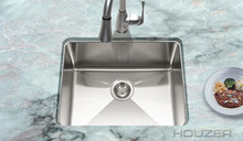 "Houzer Nouvelle NOS-4100 Undermount Single Bowl 23-1/16"" x 18"" Kitchen Sink - Stainless Steel"