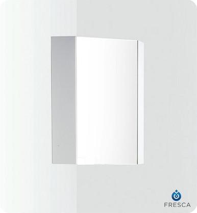 """Fresca Coda FMC5082WH 14"""" Corner Mirrored Medicine Cabinet - White"""