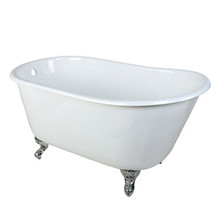"Kingston Brass 53"" Cast Iron Slipper Clawfoot Bathtub & w/o Faucet Drillings - White With Chrome Tub Feet"