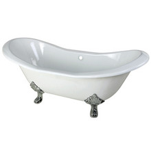 "Kingston Brass 72"" Cast Iron Double Slipper Clawfoot Bathtub & w/o Faucet Drillings - White With Chrome Tub Feet"