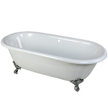 "Kingston Brass 66"" Cast Iron Double Ended Clawfoot Bathtub w/o Faucet Drillings - White With Chrome Tub Feet"