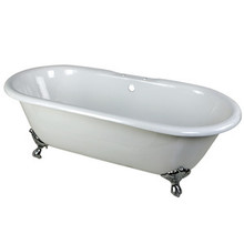 "Kingston Brass 66"" Cast Iron Double Ended Clawfoot Bathtub & 7"" Centers Faucet Drillings - White With Chrome Tub Feet"